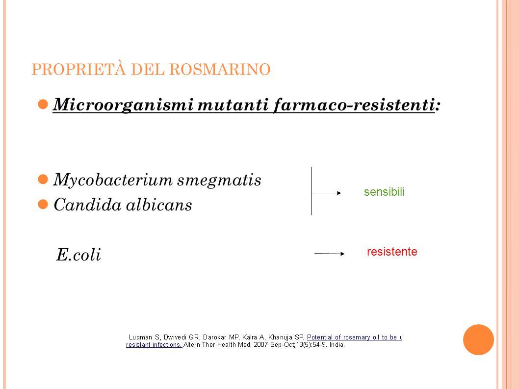 PROPRIETÀ DEL ROSMARINO Microorganismi mutanti farmaco-resistenti: Mycobacterium smegmatis Candida albicans E.coli sensibili resistente