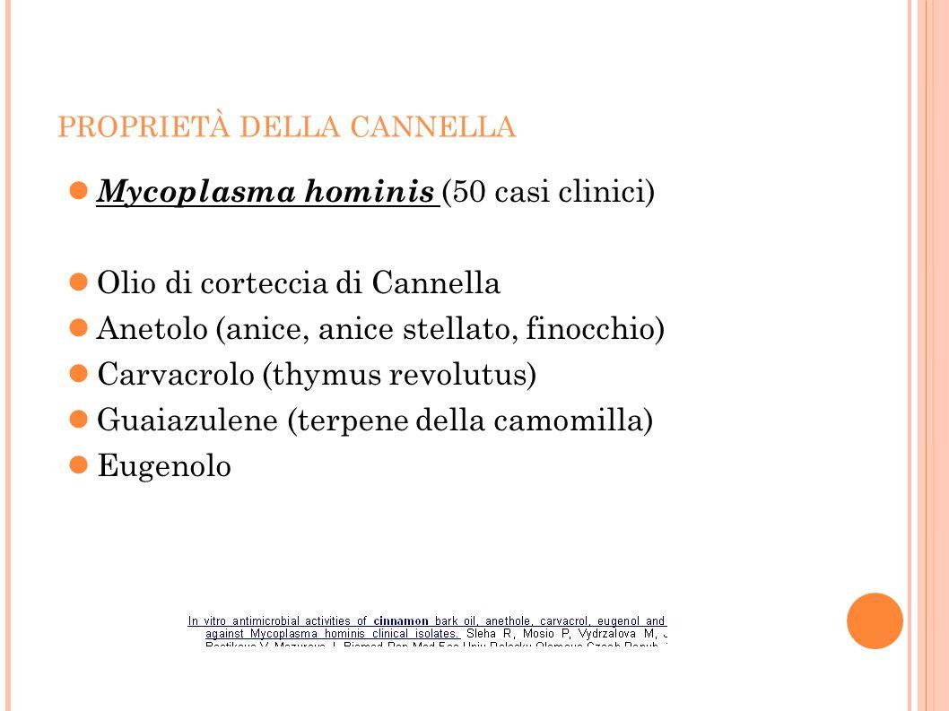 PROPRIETÀ DELLA CANNELLA Mycoplasma hominis (50 casi clinici) Olio di corteccia di Cannella Anetolo (anice, anice stellato, finocchio) Carvacrolo (thy