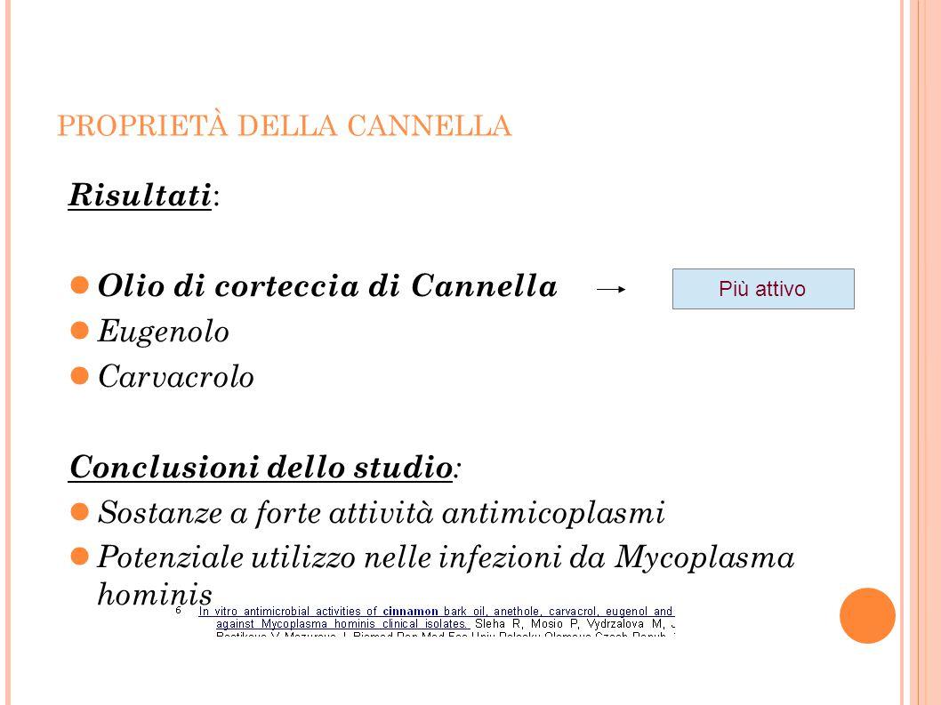 PROPRIETÀ DELLA CANNELLA Risultati : Olio di corteccia di Cannella Eugenolo Carvacrolo Conclusioni dello studio : Sostanze a forte attività antimicopl