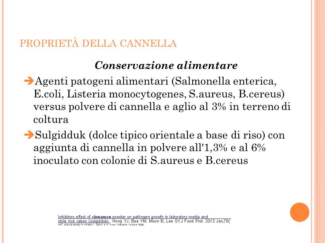PROPRIETÀ DELLA CANNELLA Conservazione alimentare  Agenti patogeni alimentari (Salmonella enterica, E.coli, Listeria monocytogenes, S.aureus, B.cereu