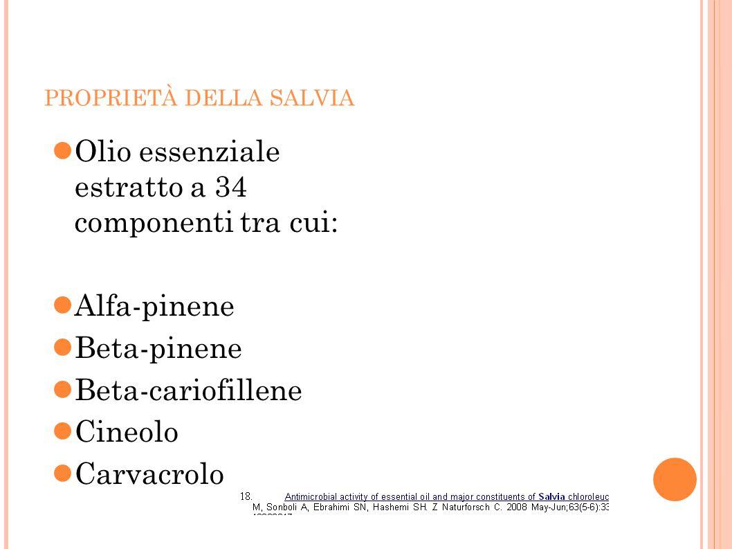 PROPRIETÀ DELLA SALVIA Olio essenziale estratto a 34 componenti tra cui: Alfa-pinene Beta-pinene Beta-cariofillene Cineolo Carvacrolo