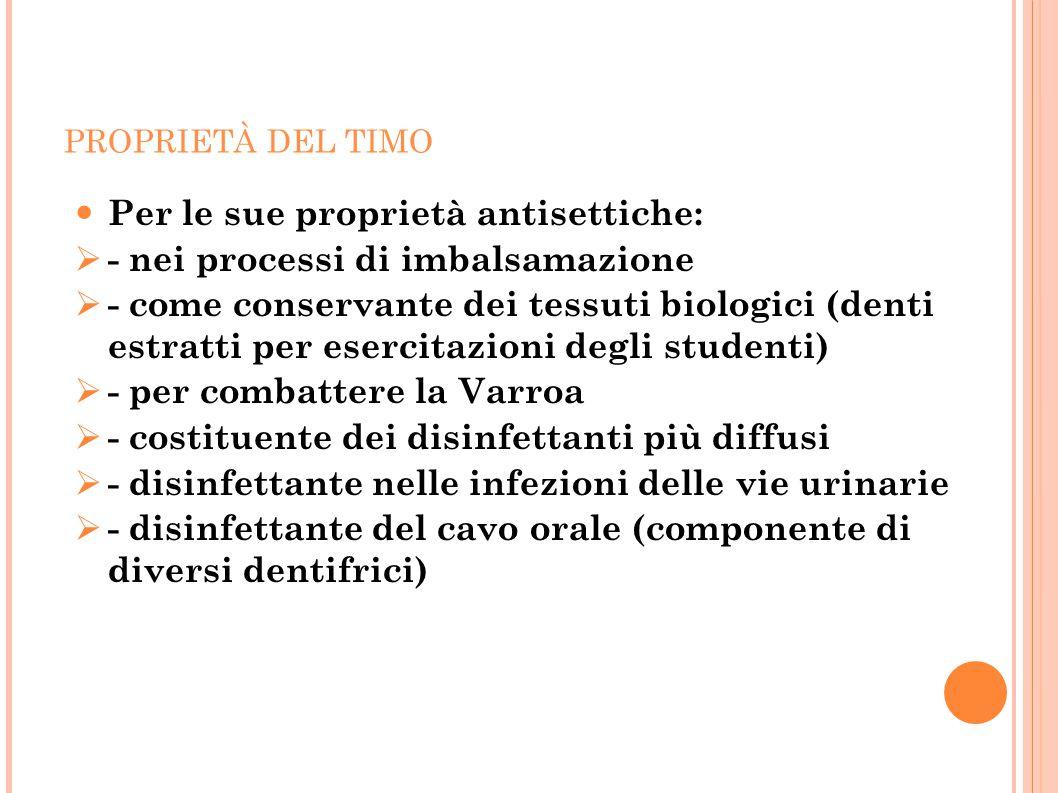 PROPRIETÀ DEL TIMO Per le sue proprietà antisettiche:  - nei processi di imbalsamazione  - come conservante dei tessuti biologici (denti estratti pe