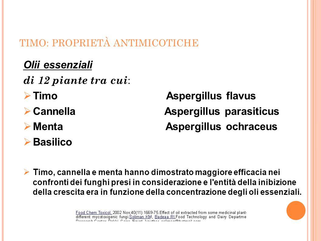 TIMO: PROPRIETÀ ANTIMICOTICHE Olii essenziali di 12 piante tra cui :  Timo Aspergillus flavus  Cannella Aspergillus parasiticus  Menta Aspergillus