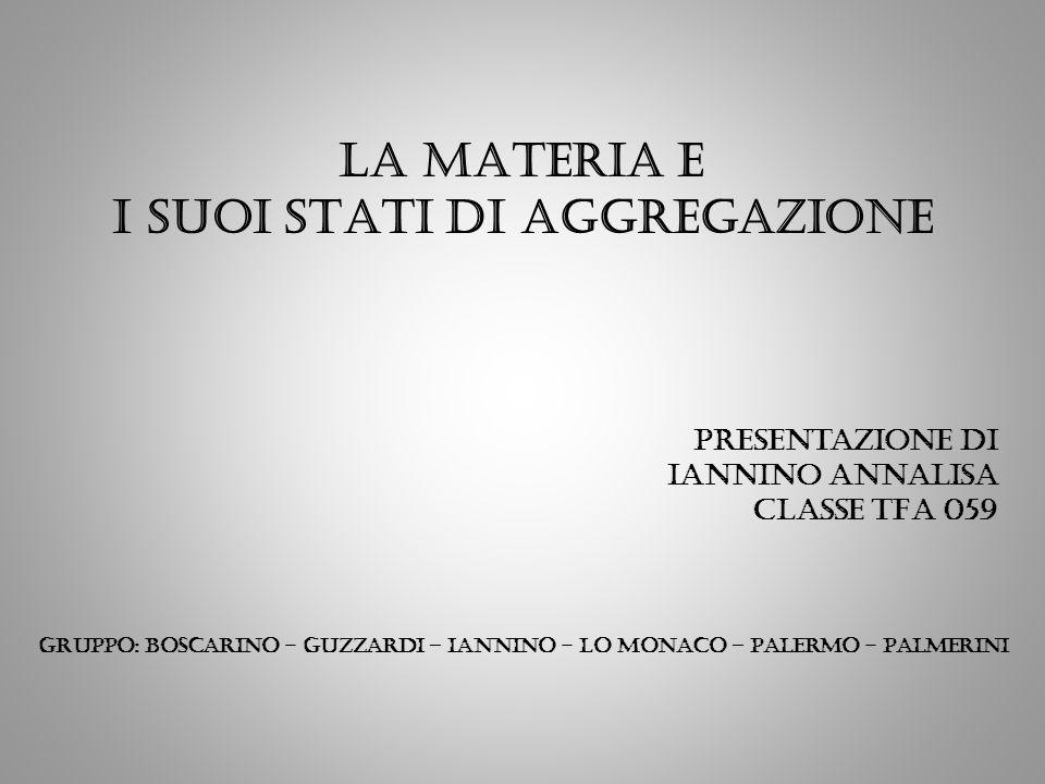 La MATERIA E I SUOI STATI DI AGGREGAZIONE Presentazione di Iannino Annalisa CLASSE TFA 059 Gruppo: boscarino - guzzardi – iannino - lo monaco – palerm