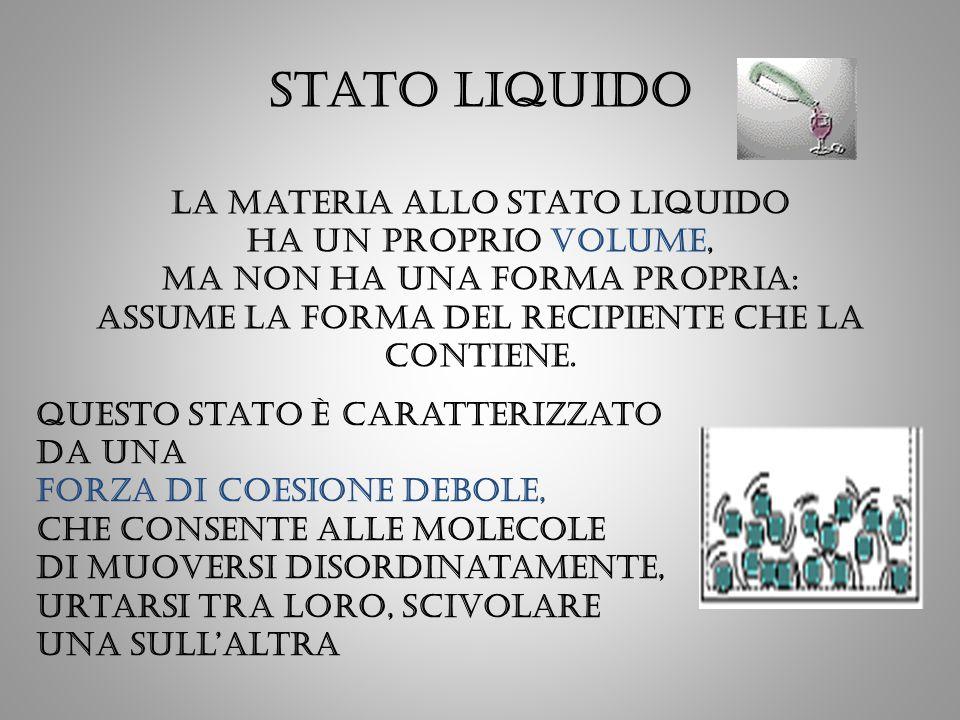 Stato liquido La materia allo stato liquido ha un proprio volume, ma non ha una forma propria: assume la forma del recipiente che la contiene. Questo
