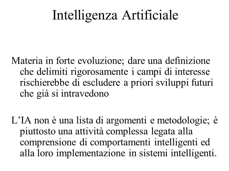 Intelligenza Artificiale Materia in forte evoluzione; dare una definizione che delimiti rigorosamente i campi di interesse rischierebbe di escludere a priori sviluppi futuri che già si intravedono L'IA non è una lista di argomenti e metodologie; è piuttosto una attività complessa legata alla comprensione di comportamenti intelligenti ed alla loro implementazione in sistemi intelligenti.