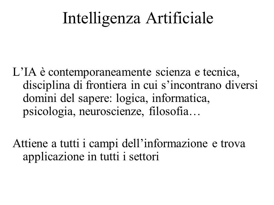 Intelligenza Artificiale L'IA è contemporaneamente scienza e tecnica, disciplina di frontiera in cui s'incontrano diversi domini del sapere: logica, informatica, psicologia, neuroscienze, filosofia… Attiene a tutti i campi dell'informazione e trova applicazione in tutti i settori
