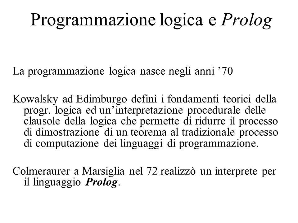 Programmazione logica e Prolog La programmazione logica nasce negli anni '70 Kowalsky ad Edimburgo definì i fondamenti teorici della progr.