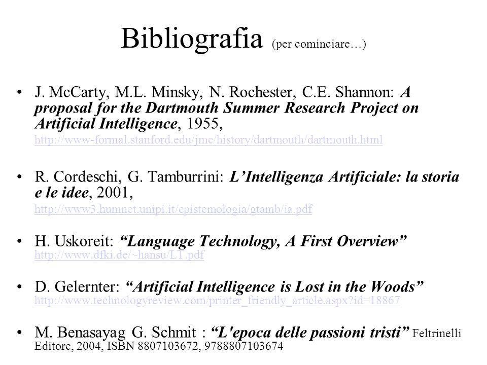 Bibliografia (per cominciare…) J. McCarty, M.L. Minsky, N.
