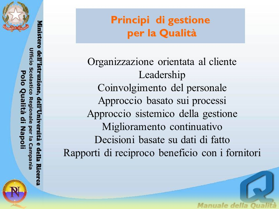 Principi di gestione per la Qualità Organizzazione orientata al cliente Leadership Coinvolgimento del personale Approccio basato sui processi Approccio sistemico della gestione Miglioramento continuativo Decisioni basate su dati di fatto Rapporti di reciproco beneficio con i fornitori