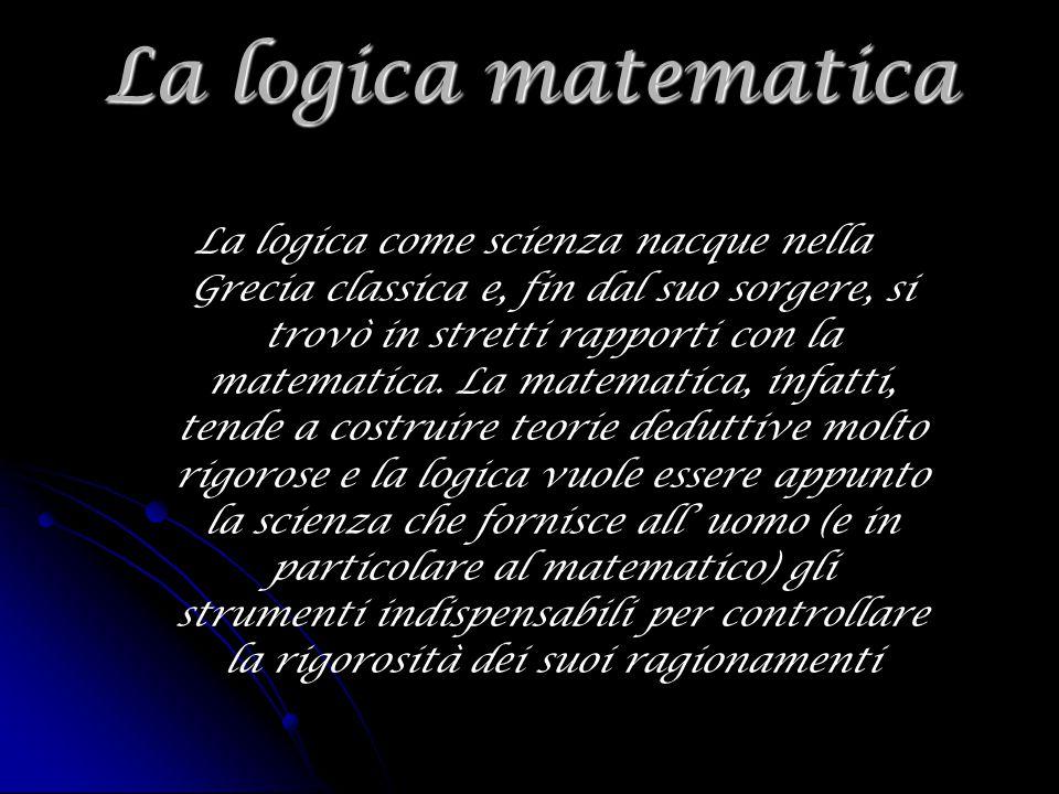 La logica matematica La logica come scienza nacque nella Grecia classica e, fin dal suo sorgere, si trovò in stretti rapporti con la matematica. La ma
