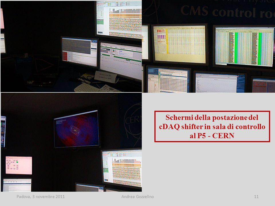 Padova, 3 novembre 2011Andrea Gozzelino11 Schermi della postazione del cDAQ shifter in sala di controllo al P5 - CERN