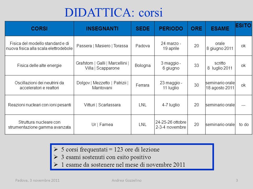 Padova, 3 novembre 2011Andrea Gozzelino14 INFN LNL  Guida per le visite ai Laboratori Nazionali di Legnaro (3 servizi);  Preparazione testo e immagini su CMS per il sito web dei LNL;  Coordinamento stand INFN LNL alla Notte dei ricercatori di Padova ;  Tutor per Masterclass 2011 a Padova.
