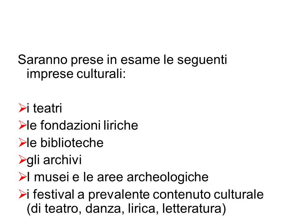 Saranno prese in esame le seguenti imprese culturali:  i teatri  le fondazioni liriche  le biblioteche  gli archivi  I musei e le aree archeologiche  i festival a prevalente contenuto culturale (di teatro, danza, lirica, letteratura)