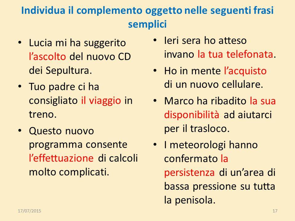 Esempio concreto Piero ha scelto lo studio della lingua tedesca Piero ha scelto di studiare la lingua tedesca 17/07/201516