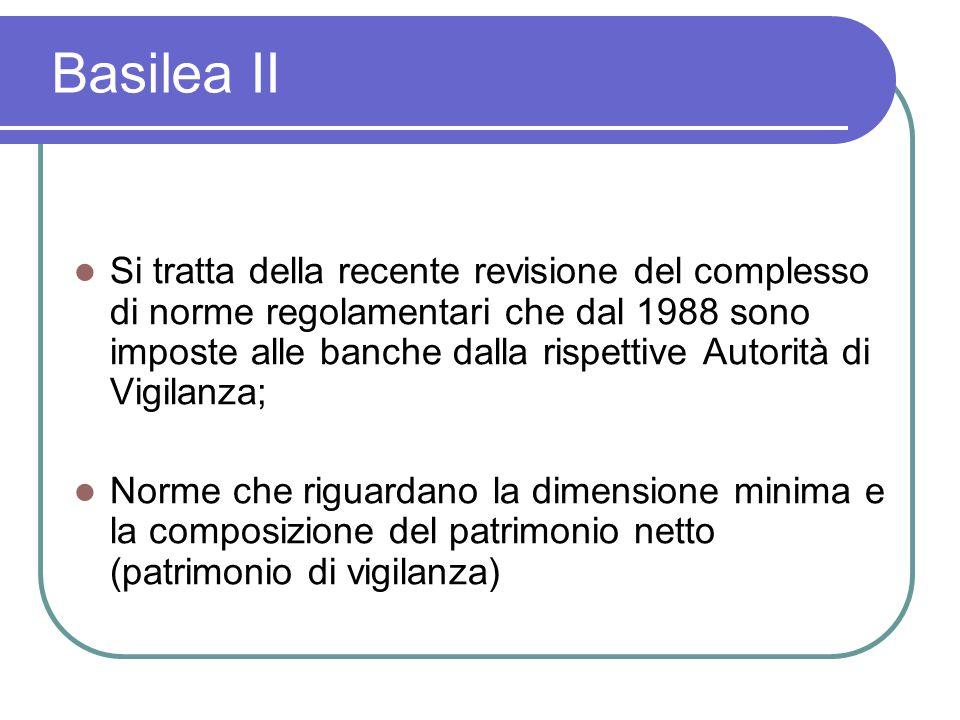 Basilea II Si tratta della recente revisione del complesso di norme regolamentari che dal 1988 sono imposte alle banche dalla rispettive Autorità di Vigilanza; Norme che riguardano la dimensione minima e la composizione del patrimonio netto (patrimonio di vigilanza)