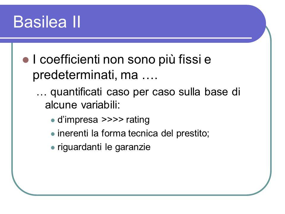 Basilea II I coefficienti non sono più fissi e predeterminati, ma ….
