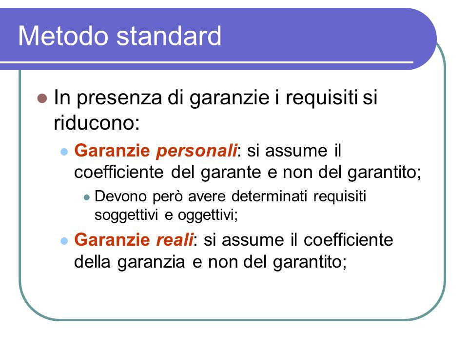 Metodo standard In presenza di garanzie i requisiti si riducono: Garanzie personali: si assume il coefficiente del garante e non del garantito; Devono però avere determinati requisiti soggettivi e oggettivi; Garanzie reali: si assume il coefficiente della garanzia e non del garantito;