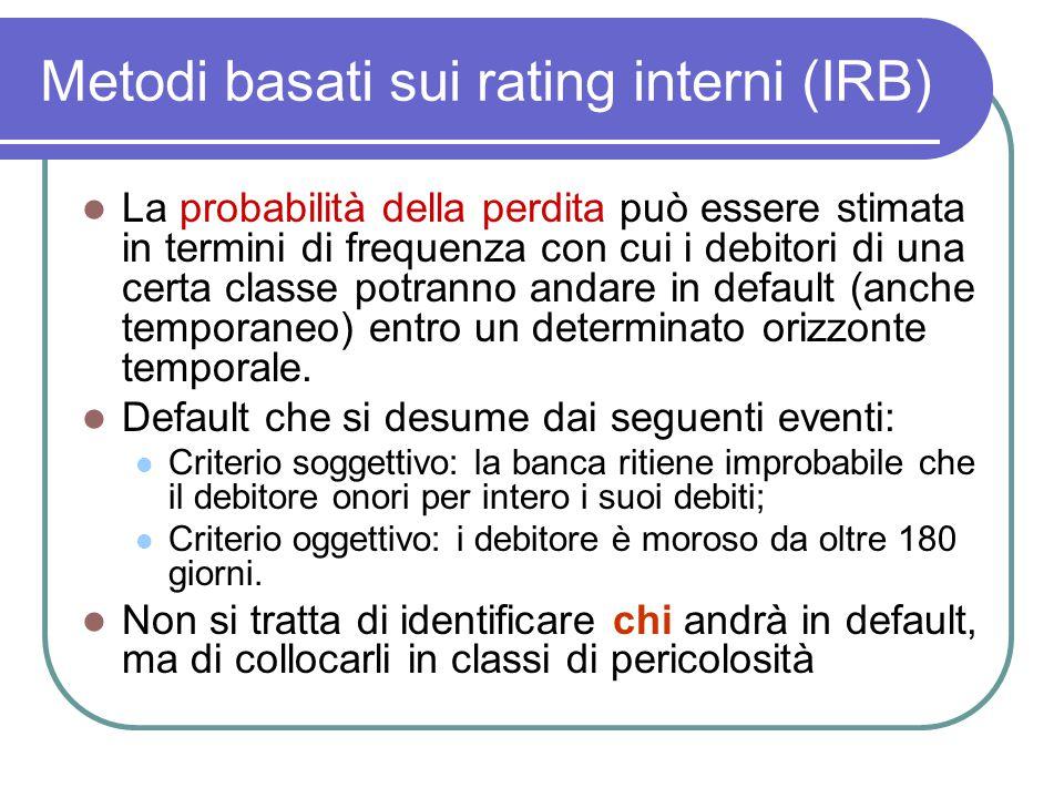 Metodi basati sui rating interni (IRB) La probabilità della perdita può essere stimata in termini di frequenza con cui i debitori di una certa classe potranno andare in default (anche temporaneo) entro un determinato orizzonte temporale.