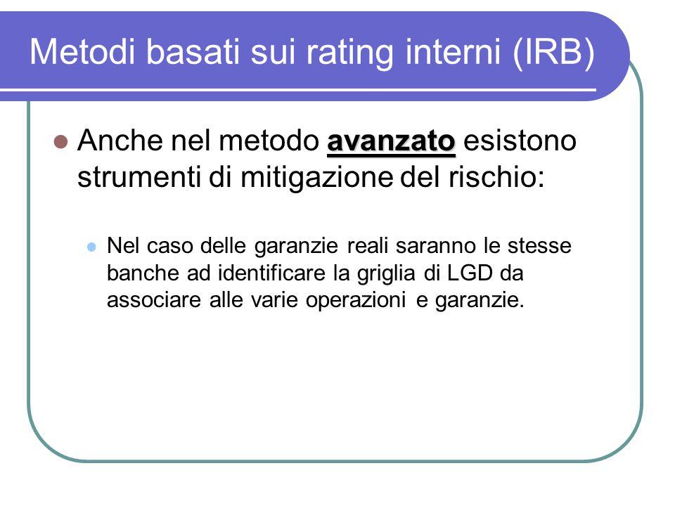 Metodi basati sui rating interni (IRB) avanzato Anche nel metodo avanzato esistono strumenti di mitigazione del rischio: Nel caso delle garanzie reali saranno le stesse banche ad identificare la griglia di LGD da associare alle varie operazioni e garanzie.
