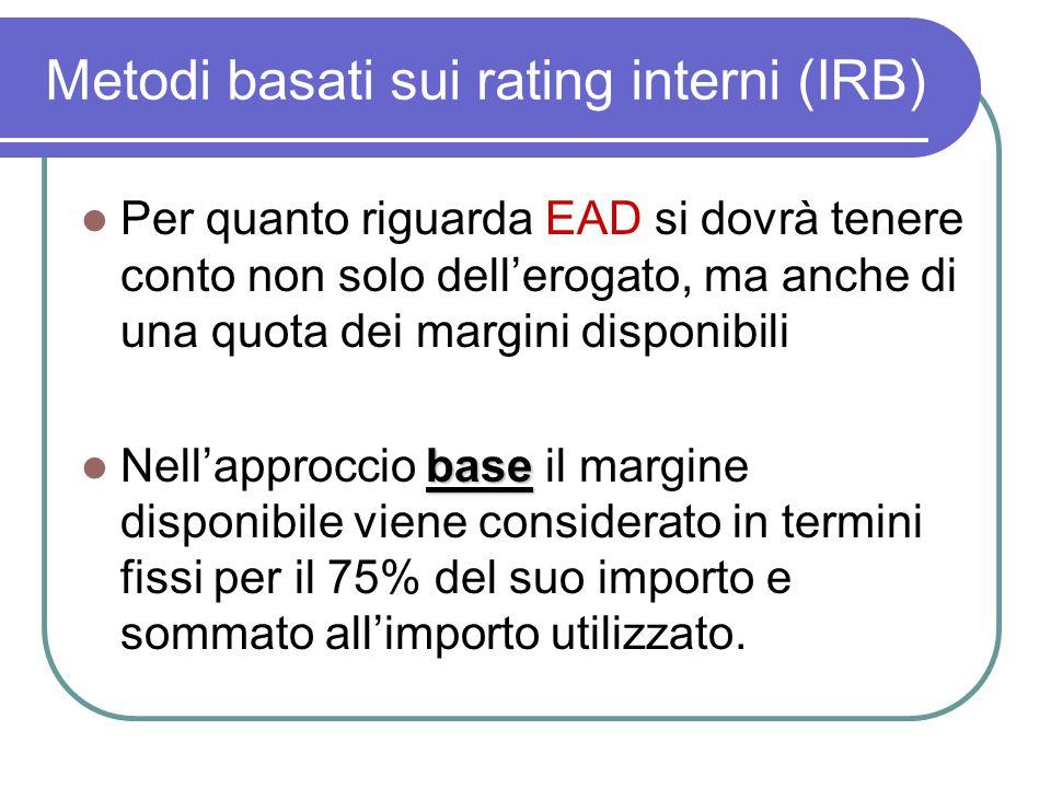 Metodi basati sui rating interni (IRB) Per quanto riguarda EAD si dovrà tenere conto non solo dell'erogato, ma anche di una quota dei margini disponibili base Nell'approccio base il margine disponibile viene considerato in termini fissi per il 75% del suo importo e sommato all'importo utilizzato.