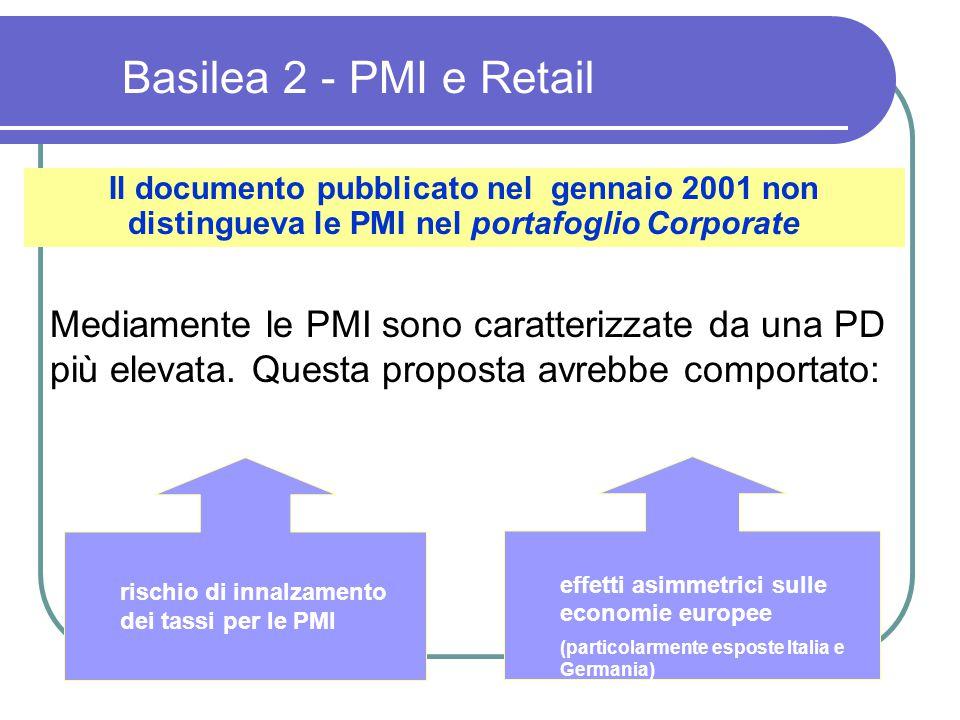 Il documento pubblicato nel gennaio 2001 non distingueva le PMI nel portafoglio Corporate Mediamente le PMI sono caratterizzate da una PD più elevata.