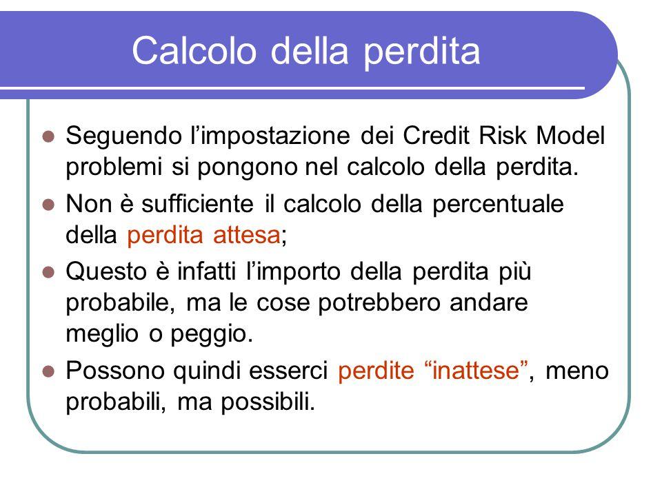 Calcolo della perdita Seguendo l'impostazione dei Credit Risk Model problemi si pongono nel calcolo della perdita.