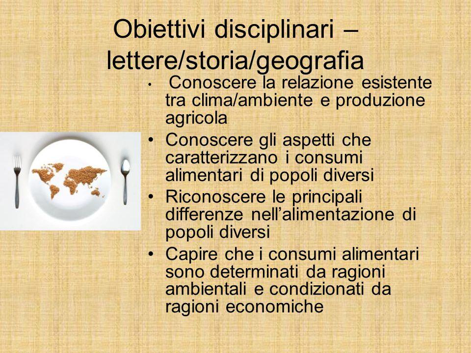 Obiettivi disciplinari – lettere/storia/geografia Conoscere la relazione esistente tra clima/ambiente e produzione agricola Conoscere gli aspetti che