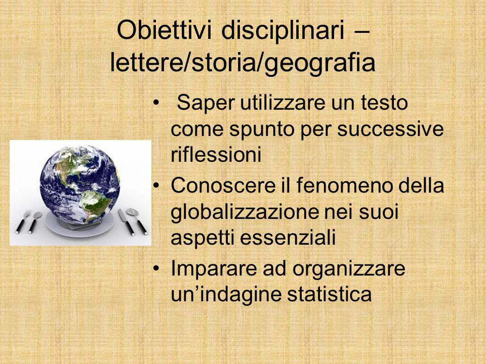 Obiettivi disciplinari – lettere/storia/geografia Saper utilizzare un testo come spunto per successive riflessioni Conoscere il fenomeno della globali