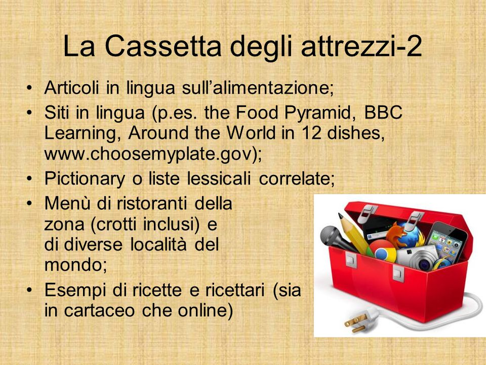 La Cassetta degli attrezzi-2 Articoli in lingua sull'alimentazione; Siti in lingua (p.es. the Food Pyramid, BBC Learning, Around the World in 12 dishe