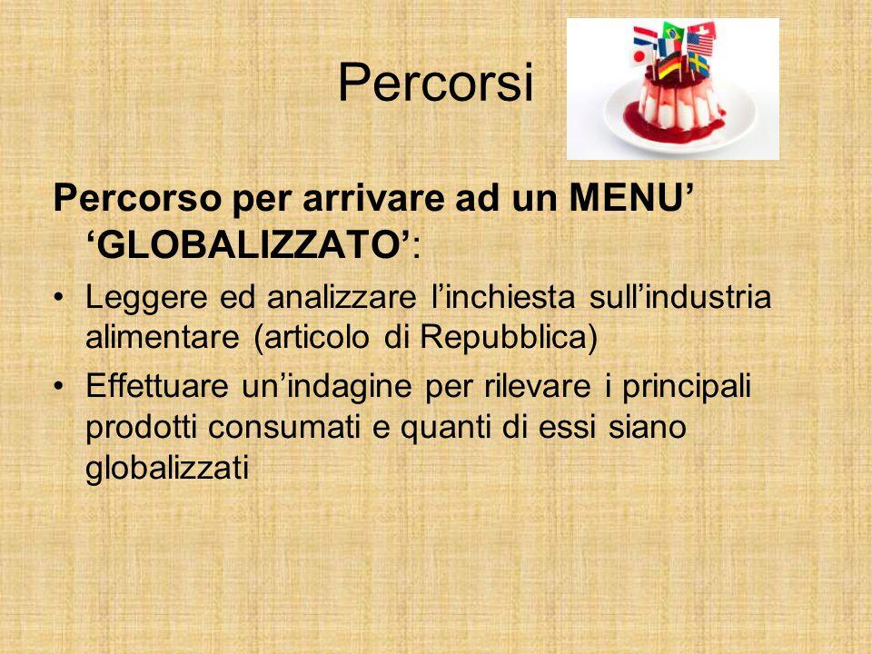 Percorsi Percorso per arrivare ad un MENU' 'GLOBALIZZATO': Leggere ed analizzare l'inchiesta sull'industria alimentare (articolo di Repubblica) Effett