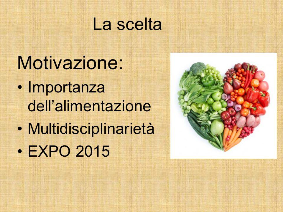 La scelta Motivazione: Importanza dell'alimentazione Multidisciplinarietà EXPO 2015