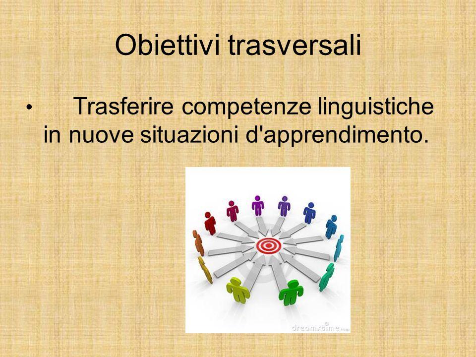 Obiettivi trasversali Trasferire competenze linguistiche in nuove situazioni d'apprendimento.