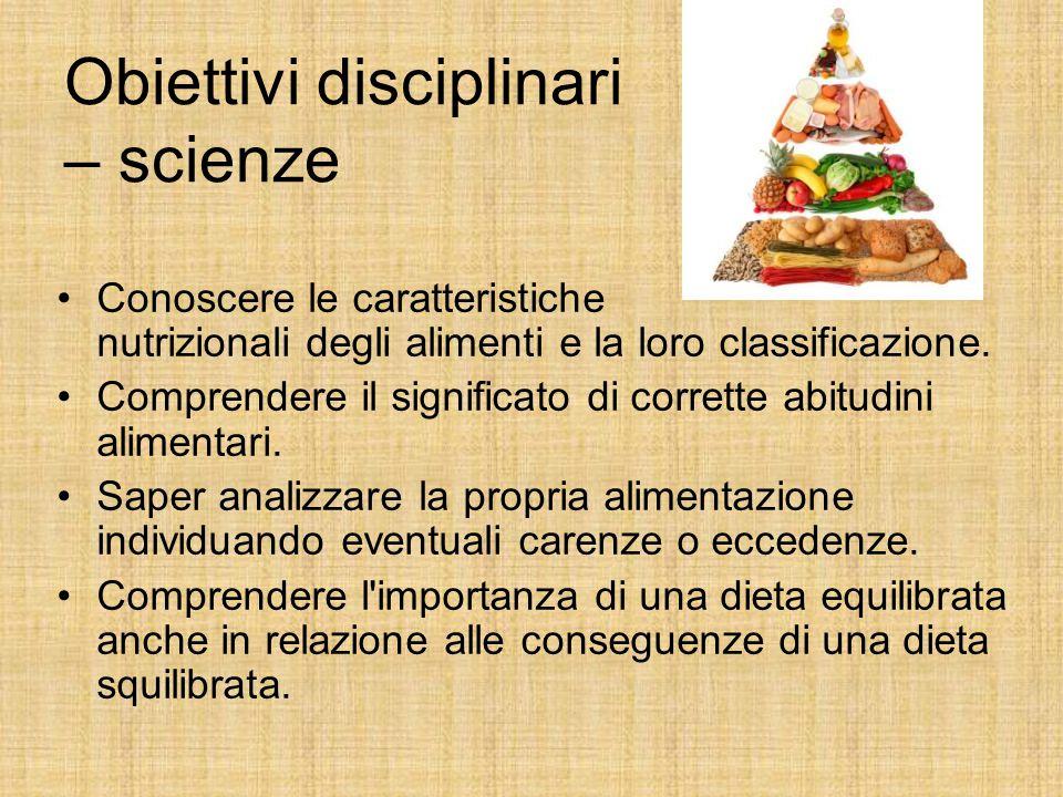 Obiettivi disciplinari – scienze Conoscere le caratteristiche nutrizionali degli alimenti e la loro classificazione. Comprendere il significato di cor