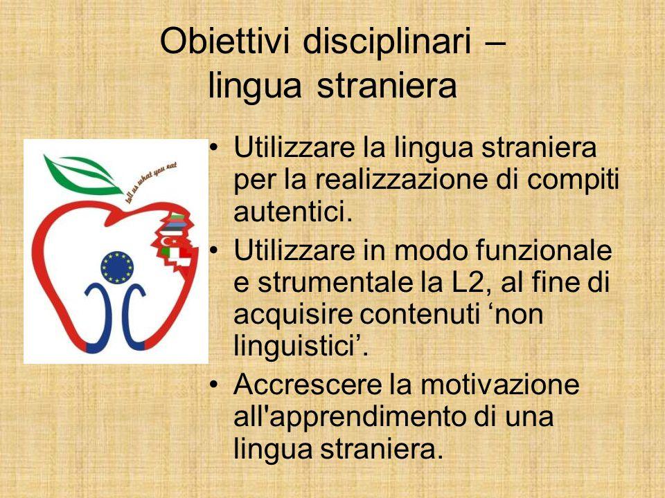 Obiettivi disciplinari – lingua straniera Utilizzare la lingua straniera per la realizzazione di compiti autentici. Utilizzare in modo funzionale e st