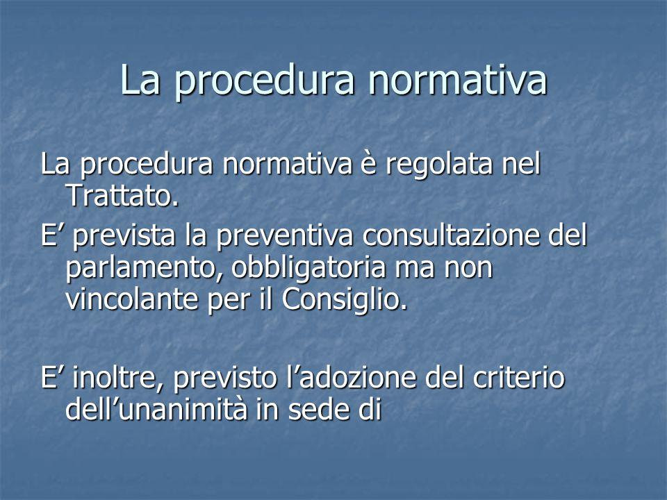 La procedura normativa La procedura normativa è regolata nel Trattato.