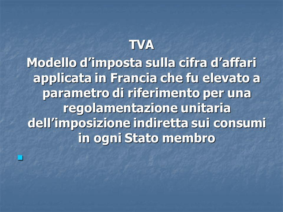 TVA Modello d'imposta sulla cifra d'affari applicata in Francia che fu elevato a parametro di riferimento per una regolamentazione unitaria dell'imposizione indiretta sui consumi in ogni Stato membro