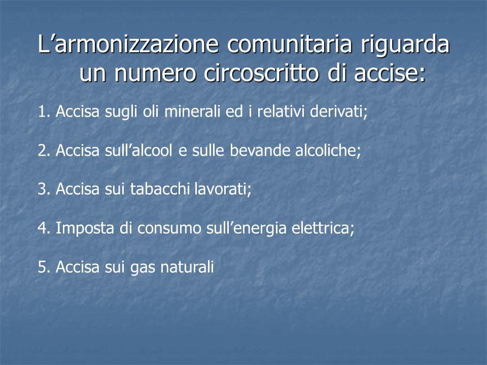 L'armonizzazione comunitaria riguarda un numero circoscritto di accise: 1.Accisa sugli oli minerali ed i relativi derivati; 2.Accisa sull'alcool e sulle bevande alcoliche; 3.Accisa sui tabacchi lavorati; 4.Imposta di consumo sull'energia elettrica; 5.Accisa sui gas naturali