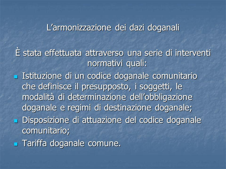 L'armonizzazione dei dazi doganali È stata effettuata attraverso una serie di interventi normativi quali: Istituzione di un codice doganale comunitario che definisce il presupposto, i soggetti, le modalità di determinazione dell'obbligazione doganale e regimi di destinazione doganale; Istituzione di un codice doganale comunitario che definisce il presupposto, i soggetti, le modalità di determinazione dell'obbligazione doganale e regimi di destinazione doganale; Disposizione di attuazione del codice doganale comunitario; Disposizione di attuazione del codice doganale comunitario; Tariffa doganale comune.