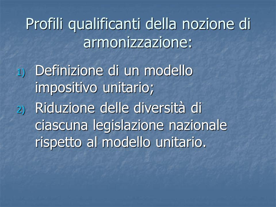 Profili qualificanti della nozione di armonizzazione: 1) Definizione di un modello impositivo unitario; 2) Riduzione delle diversità di ciascuna legislazione nazionale rispetto al modello unitario.