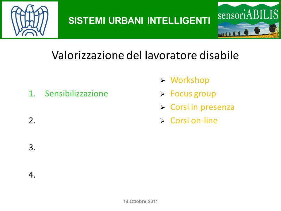 SISTEMI URBANI INTELLIGENTI Operazioni concrete e modifiche  Follow-up survey  Formazione (disabili / formatori)  Modifiche alle procedure 14 Ottobre 2011
