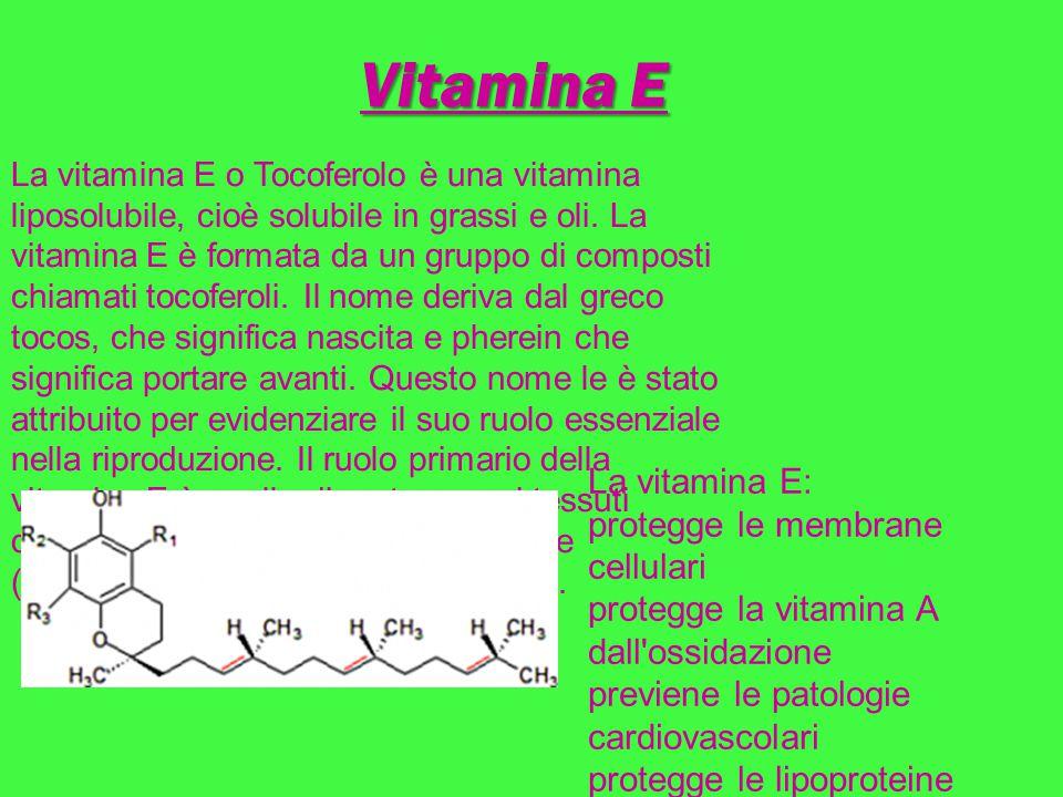 Vitamina E La vitamina E o Tocoferolo è una vitamina liposolubile, cioè solubile in grassi e oli. La vitamina E è formata da un gruppo di composti chi