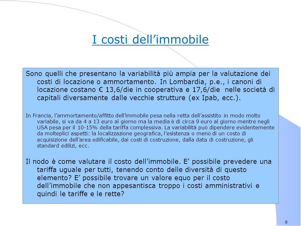 8 I costi dell'immobile Sono quelli che presentano la variabilità più ampia per la valutazione dei costi di locazione o ammortamento.