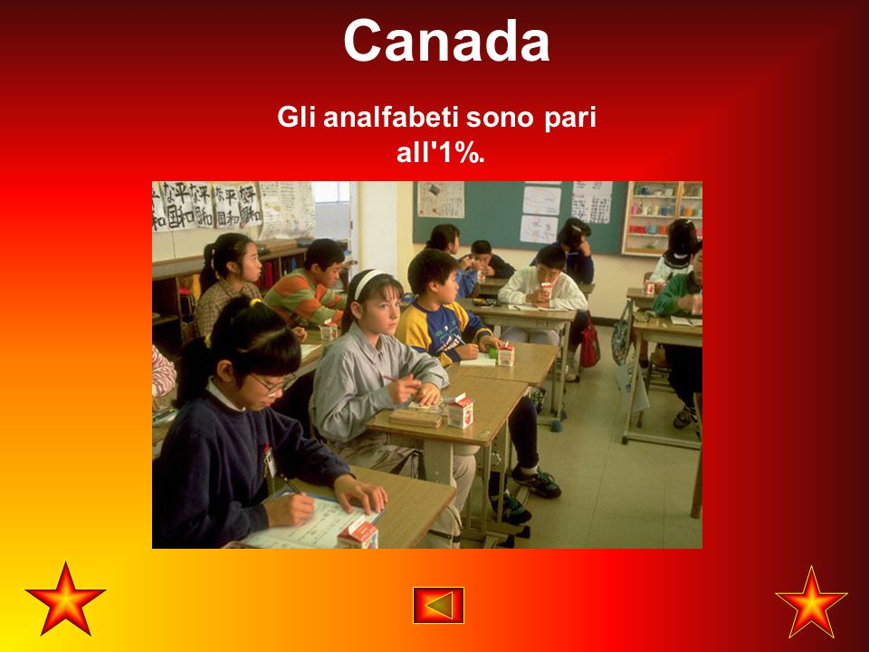 Gli analfabeti sono pari all'1%. Canada