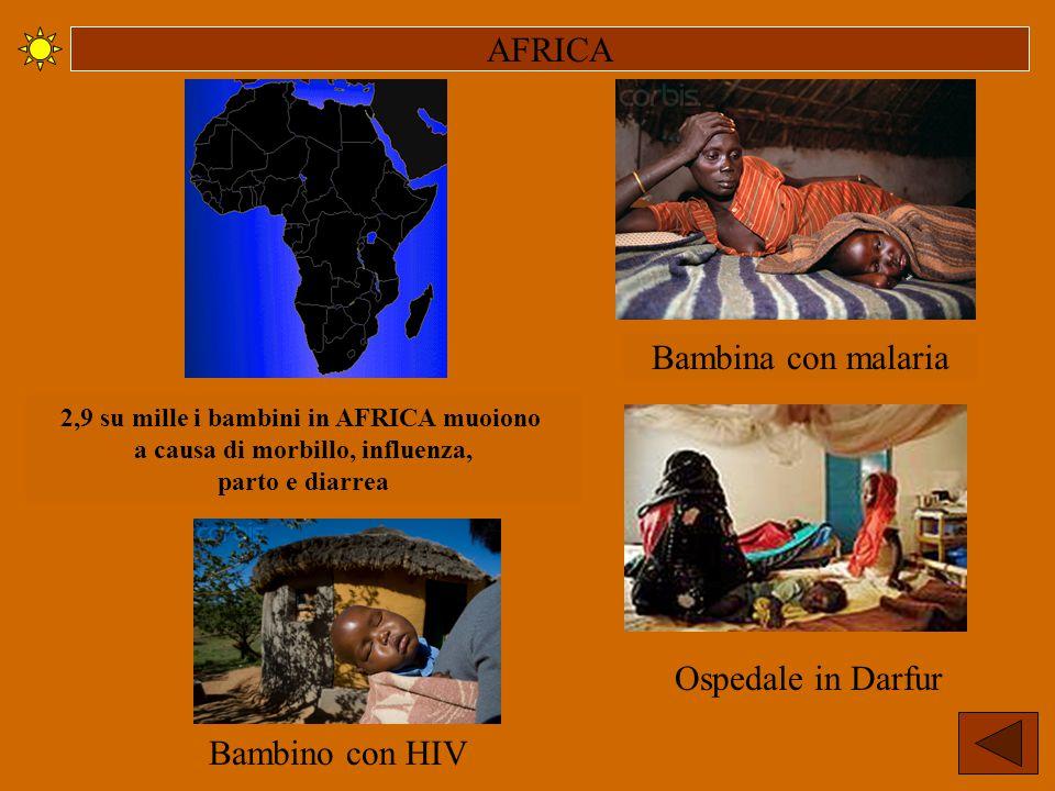 AFRICA Ospedale in Darfur Bambina con malaria 2,9 su mille i bambini in AFRICA muoiono a causa di morbillo, influenza, parto e diarrea Bambino con HIV