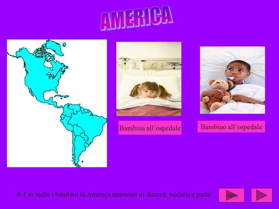 0,4 su mille i bambini in America muoiono di diarrea, malaria e parto Bambina all'ospedale Bambino all'ospedale cuba