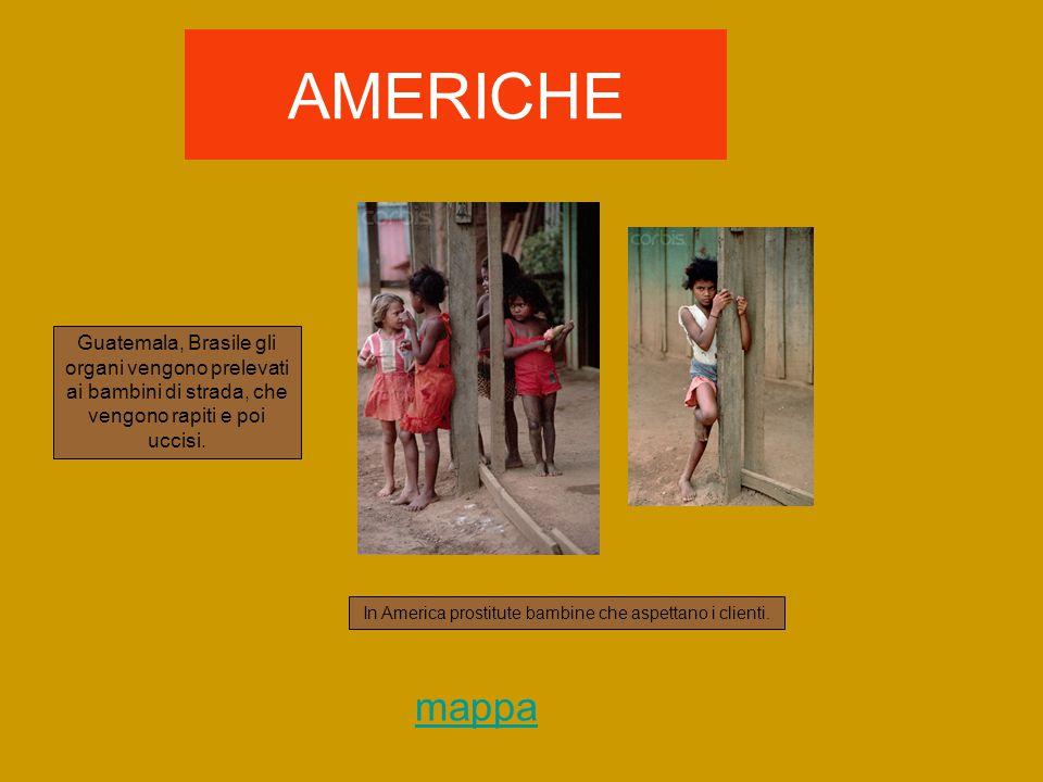 AMERICHE Guatemala, Brasile gli organi vengono prelevati ai bambini di strada, che vengono rapiti e poi uccisi.