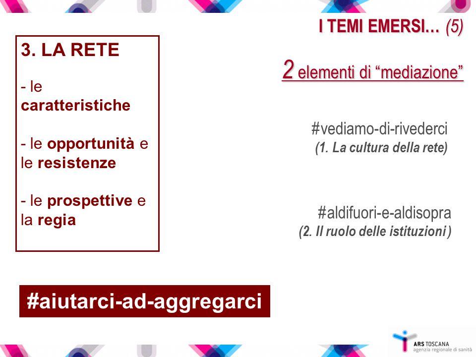 """I TEMI EMERSI… (5) 2 elementi di """"mediazione"""" 3. LA RETE - le caratteristiche - le opportunità e le resistenze - le prospettive e la regia #vediamo-di"""