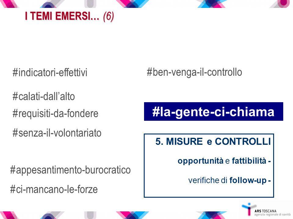 5. MISURE e CONTROLLI opportunità e fattibilità - verifiche di follow-up - I TEMI EMERSI… (6) #indicatori-effettivi #ben-venga-il-controllo #calati-da