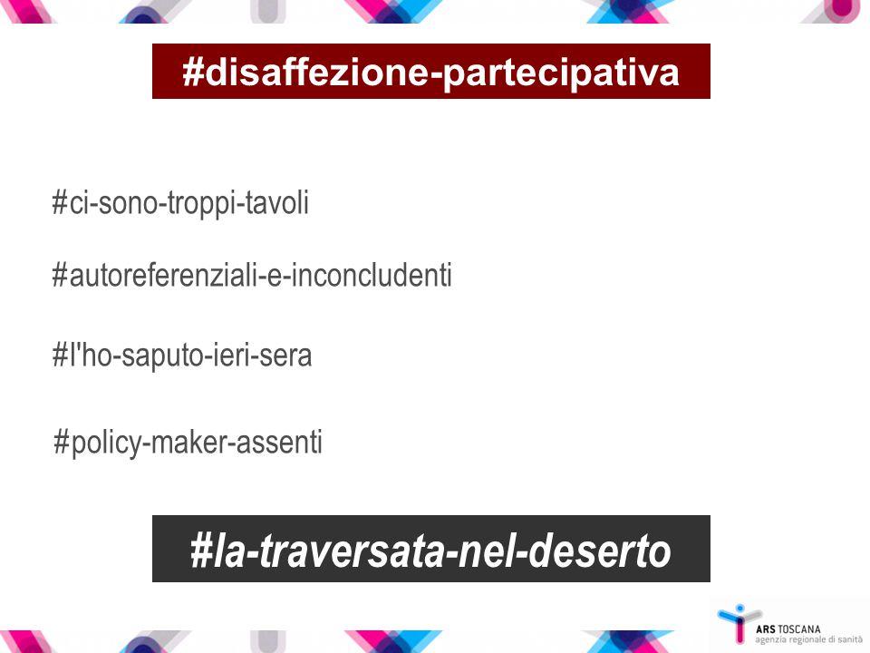 #disaffezione-partecipativa #ci-sono-troppi-tavoli #autoreferenziali-e-inconcludenti #l'ho-saputo-ieri-sera #policy-maker-assenti #la-traversata-nel-d